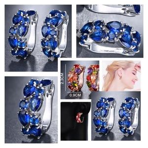 NEW!💙💎GORGEOUS SAPPHIRE BLUE CZ HOOPS💎💙SILVERY